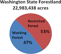 Washington State Forestland: 22,983,438 acres; Restricted Forest: 53%; Working Forest: 47%